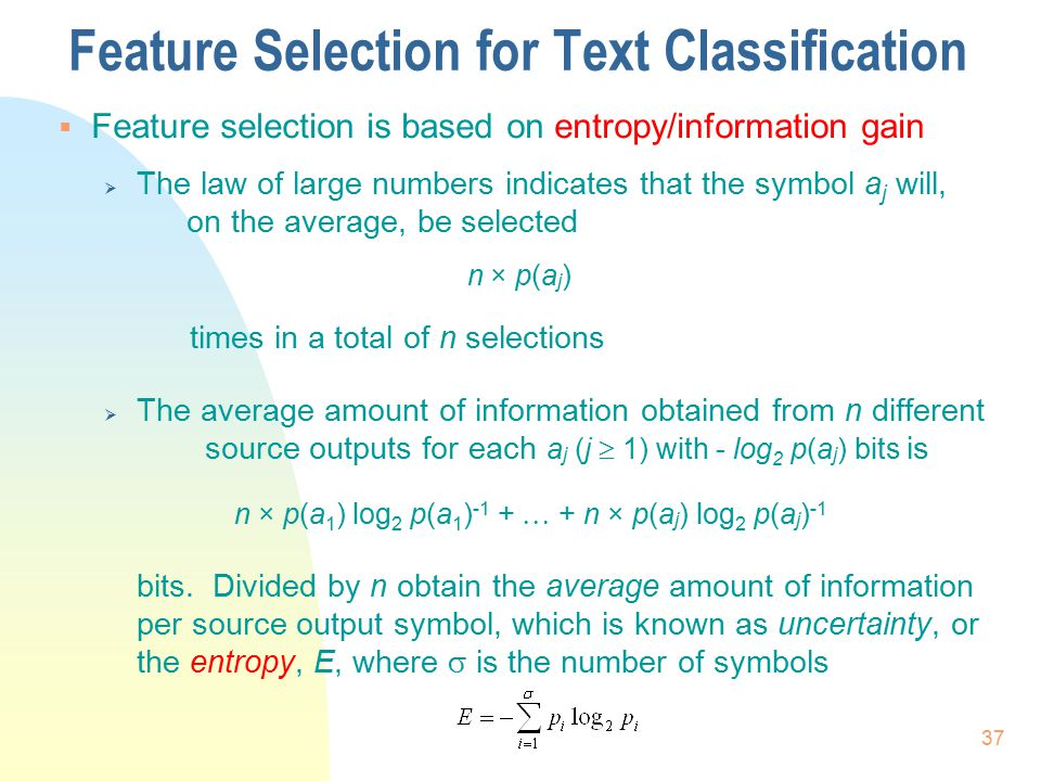 Feature Selection for Text Classification