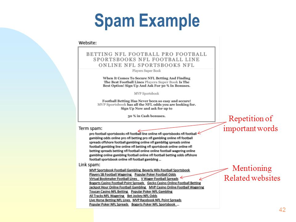 Spam Example Repetition of important words Mentioning Related websites