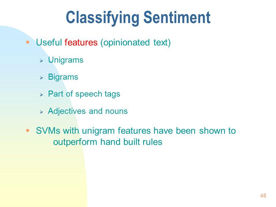 Classifying Sentiment