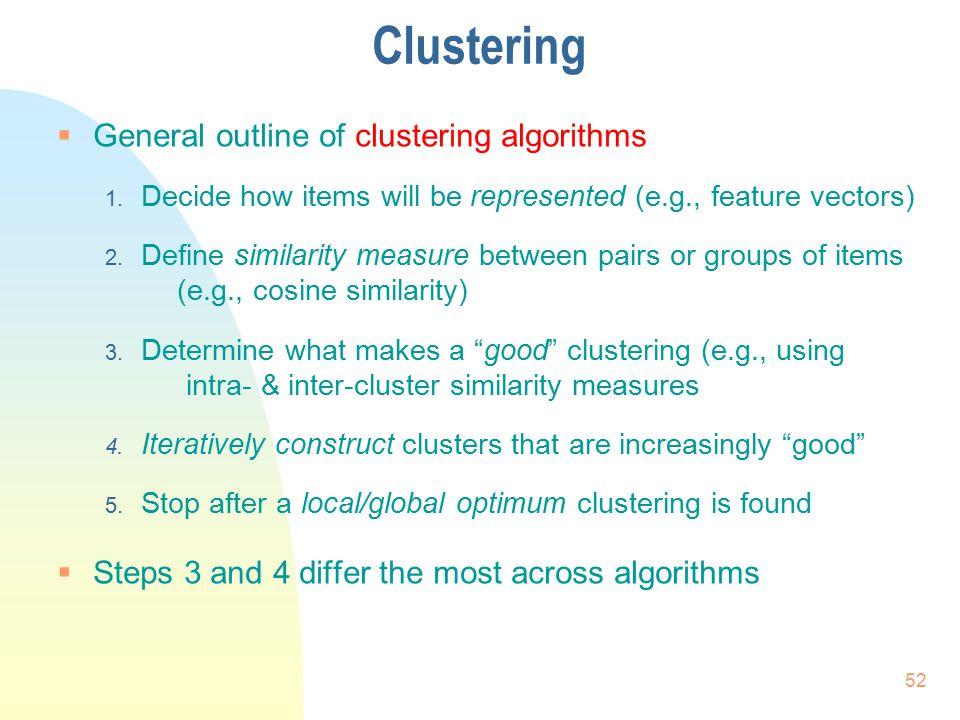 Clustering General outline of clustering algorithms