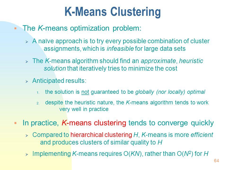 K-Means Clustering The K-means optimization problem: