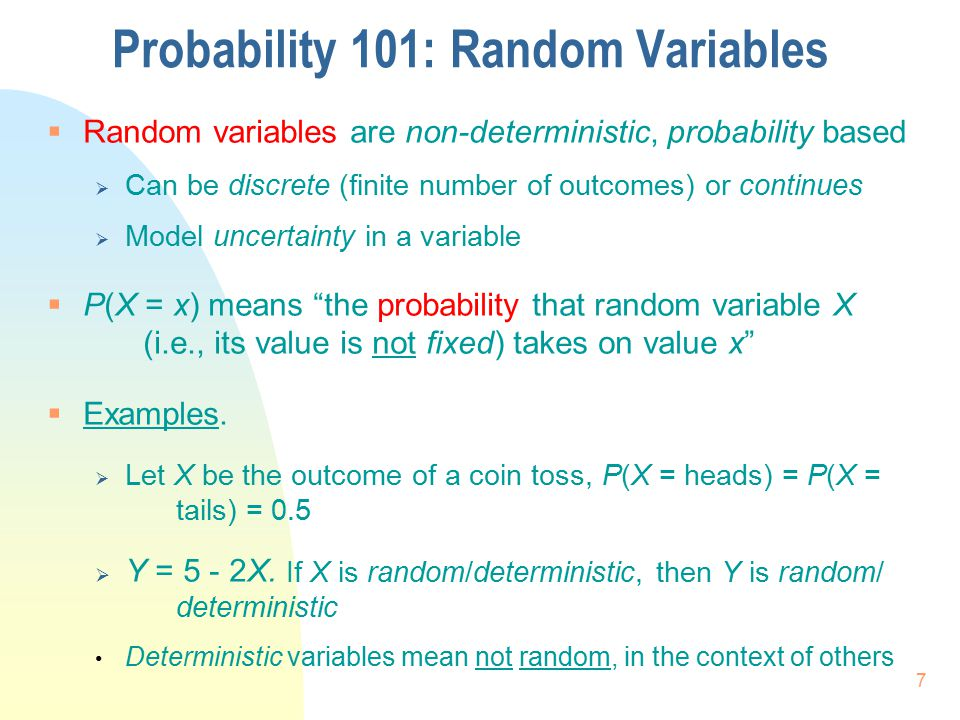 Probability 101: Random Variables