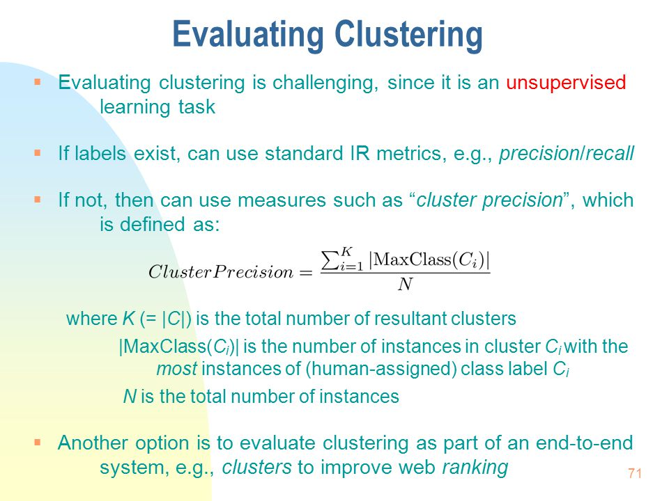 Evaluating Clustering