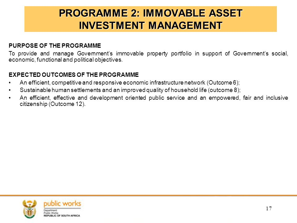 PROGRAMME 2: IMMOVABLE ASSET INVESTMENT MANAGEMENT