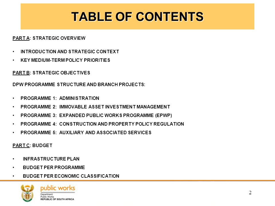 TABLE OF CONTENTS PART A: STRATEGIC OVERVIEW
