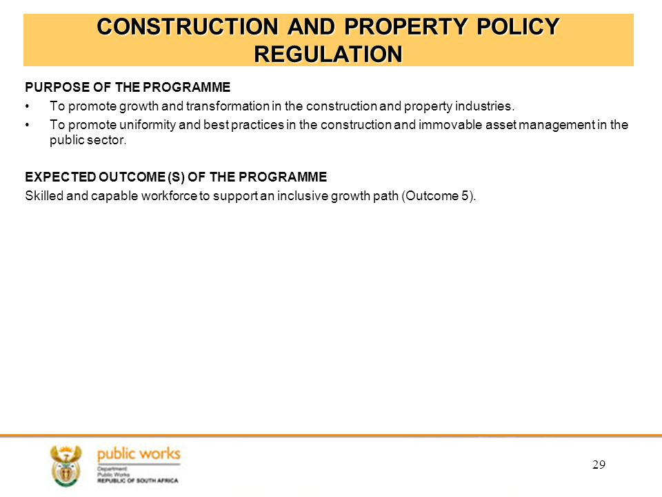 CONSTRUCTION AND PROPERTY POLICY REGULATION