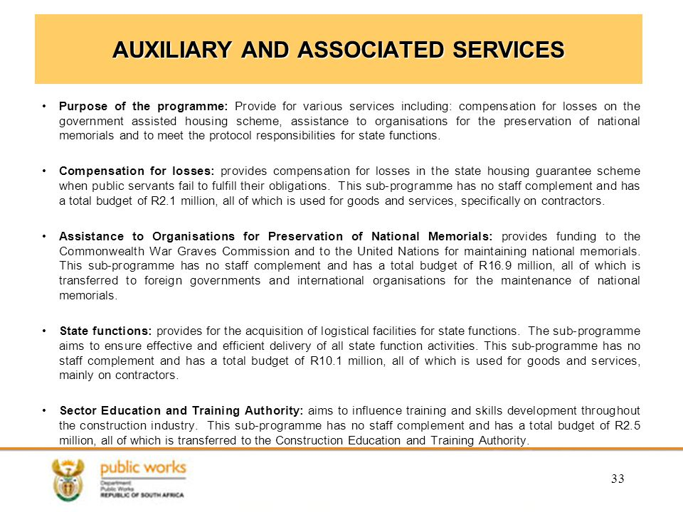 AUXILIARY AND ASSOCIATED SERVICES