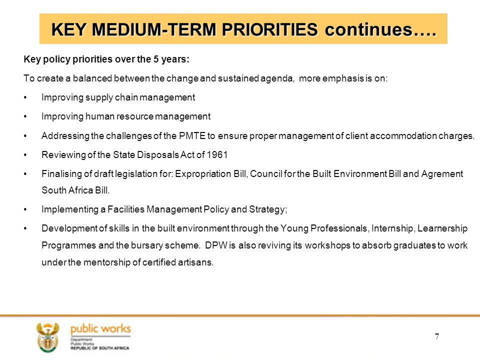 KEY MEDIUM-TERM PRIORITIES continues….