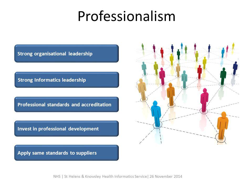 Professionalism Strong organisational leadership