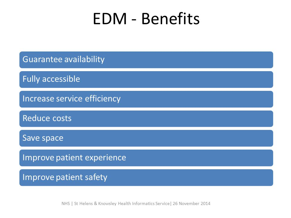 EDM - Benefits Guarantee availability Fully accessible