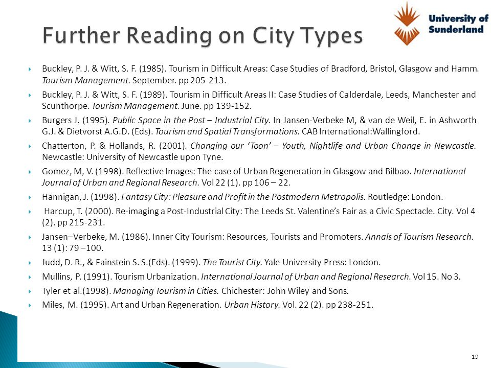 Further Reading on City Types