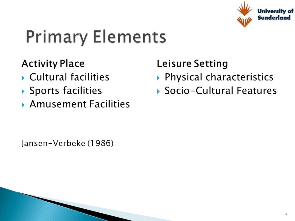Primary Elements Activity Place Cultural facilities Sports facilities