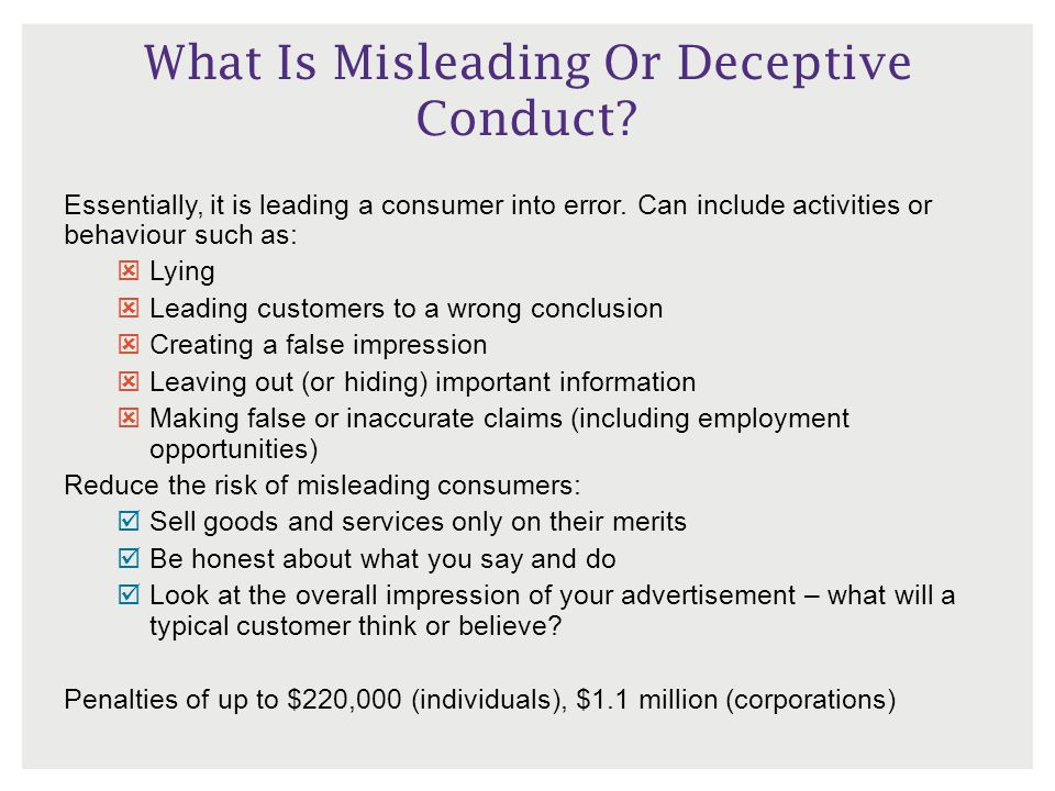 What Is Misleading Or Deceptive Conduct