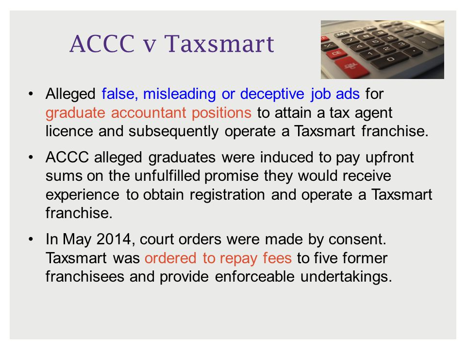 ACCC v Taxsmart