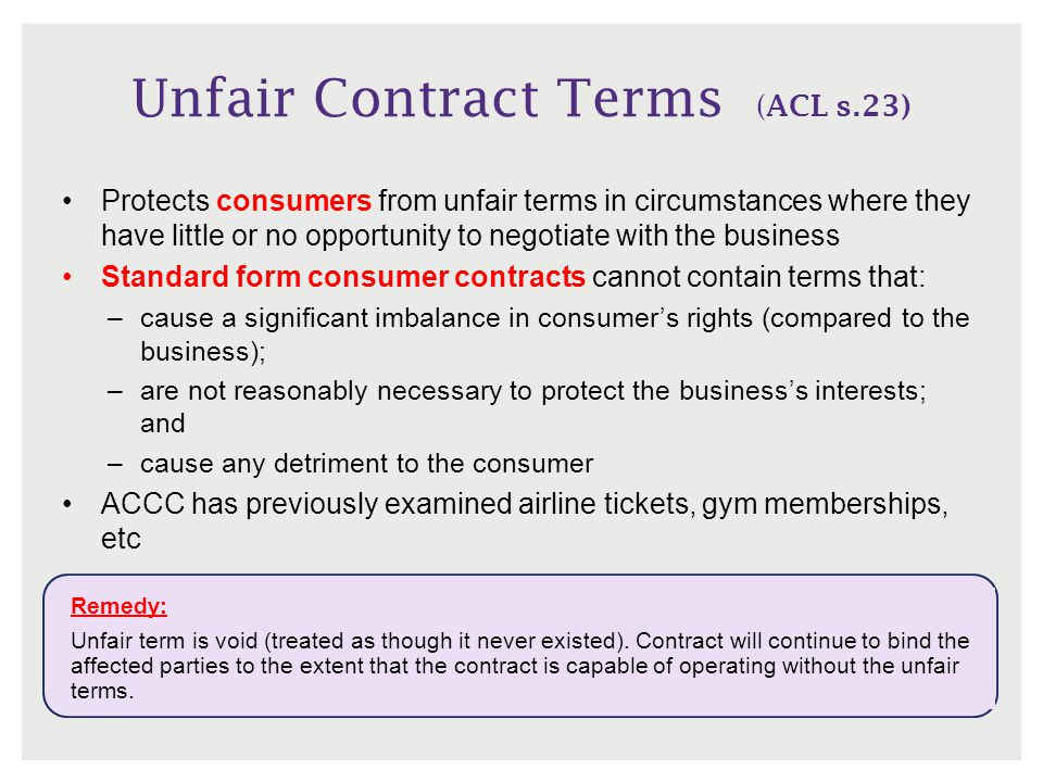 Unfair Contract Terms (ACL s.23)