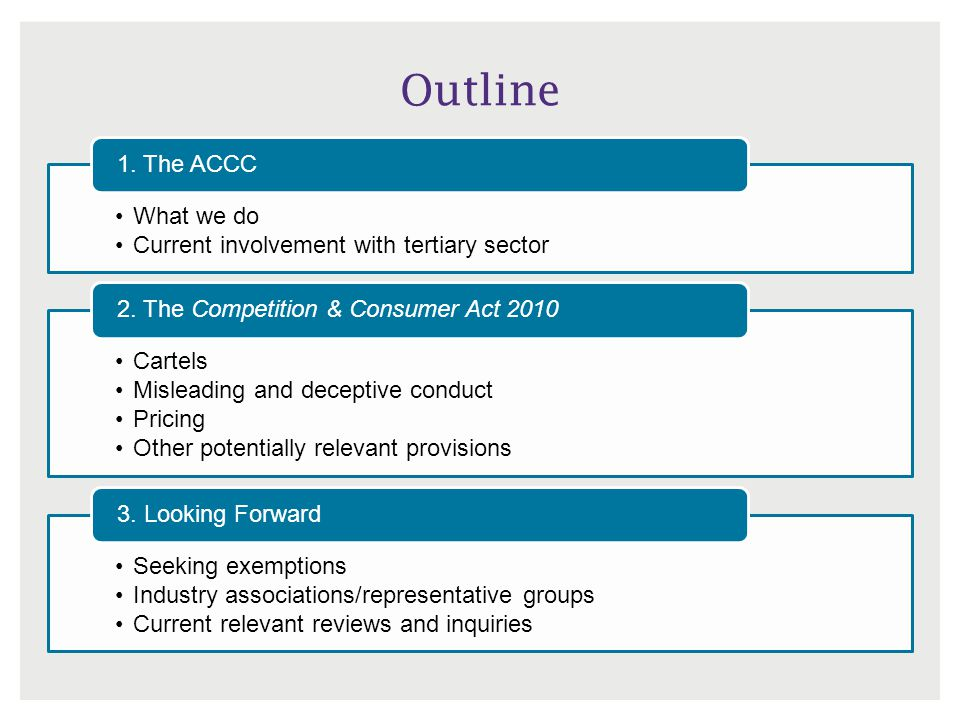 Outline 1. The ACCC What we do