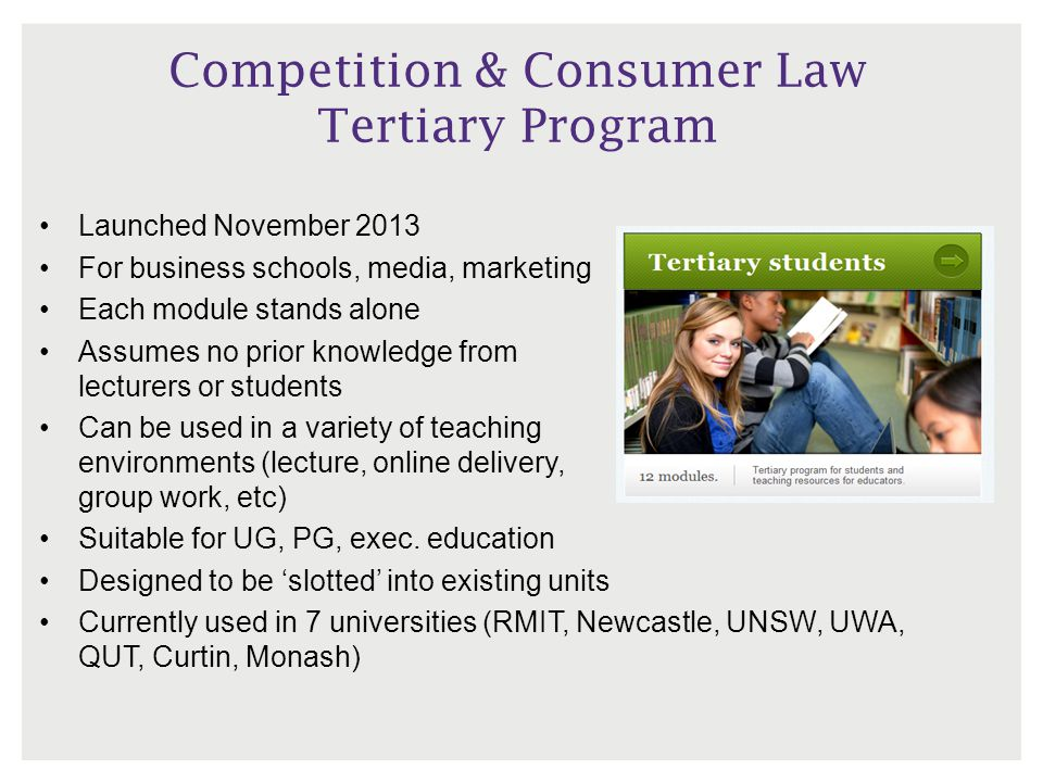 Competition & Consumer Law Tertiary Program