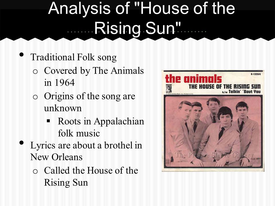 Analysis of House of the Rising Sun