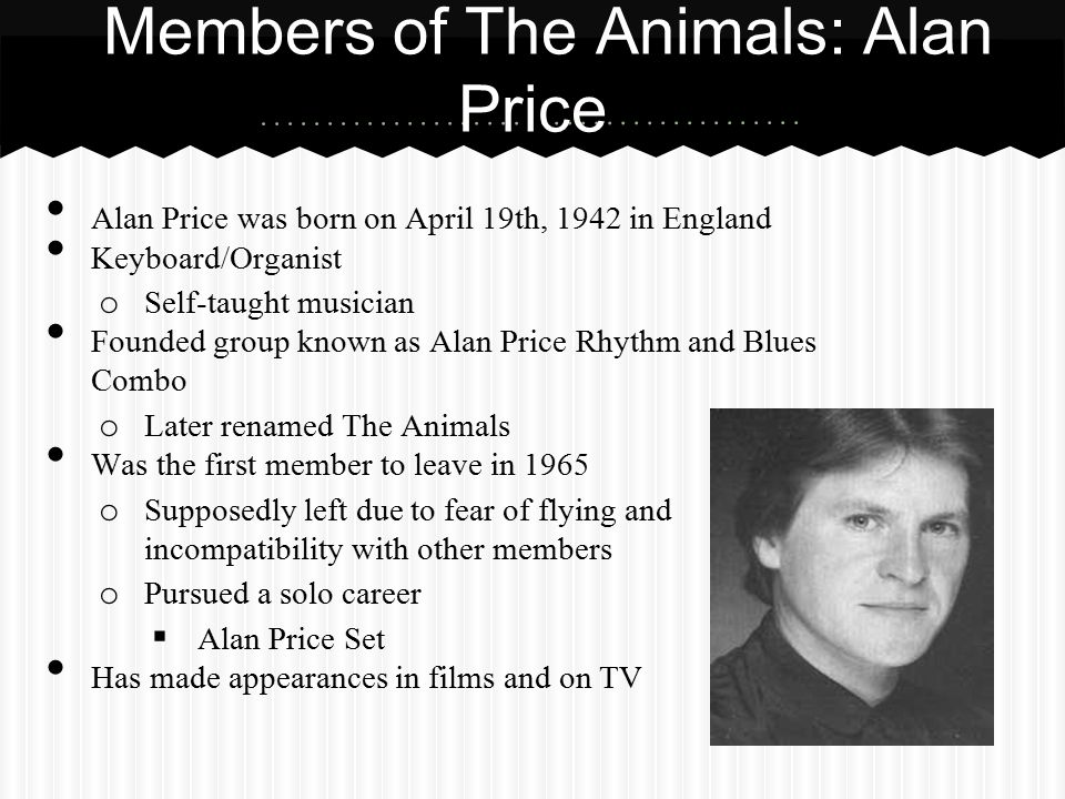 Members of The Animals: Alan Price