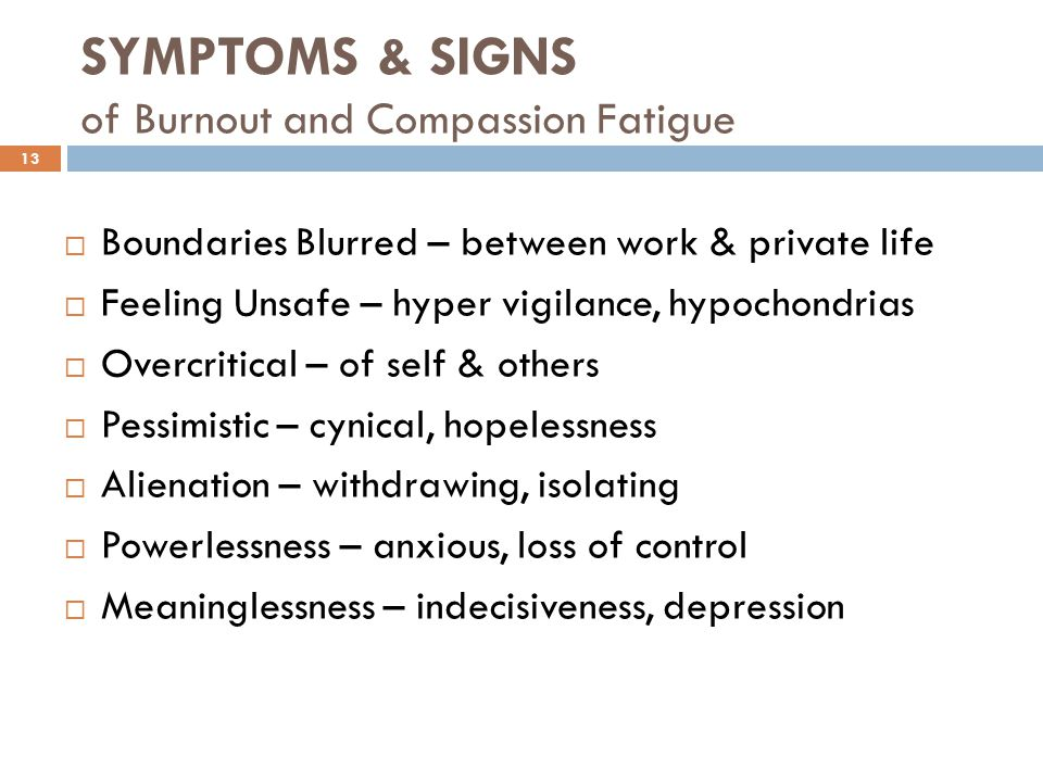 SYMPTOMS & SIGNS of Burnout and Compassion Fatigue
