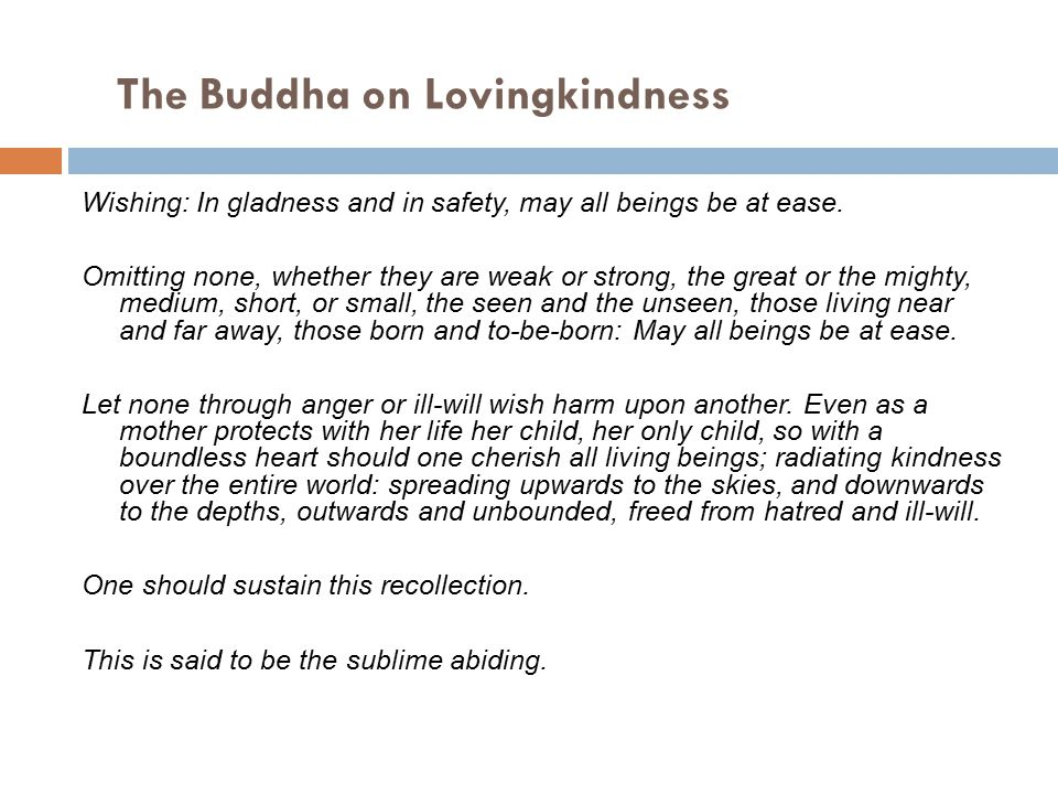 The Buddha on Lovingkindness