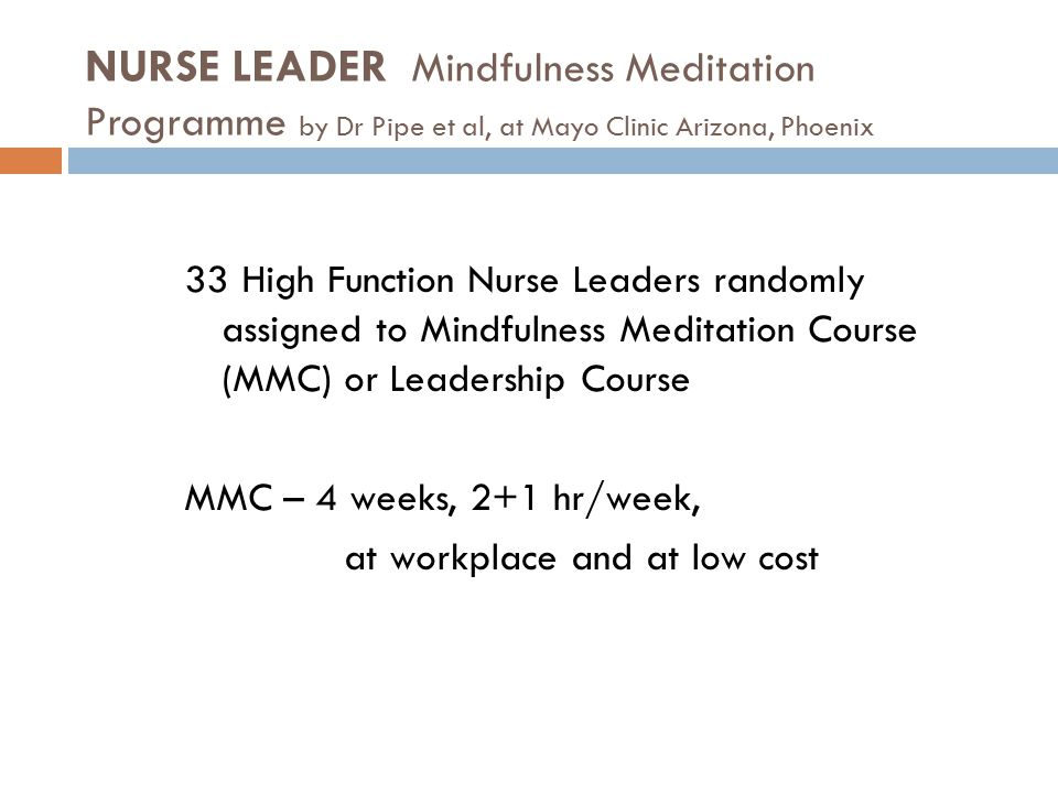 NURSE LEADER Mindfulness Meditation Programme by Dr Pipe et al, at Mayo Clinic Arizona, Phoenix