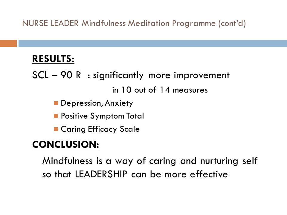 NURSE LEADER Mindfulness Meditation Programme (cont'd)
