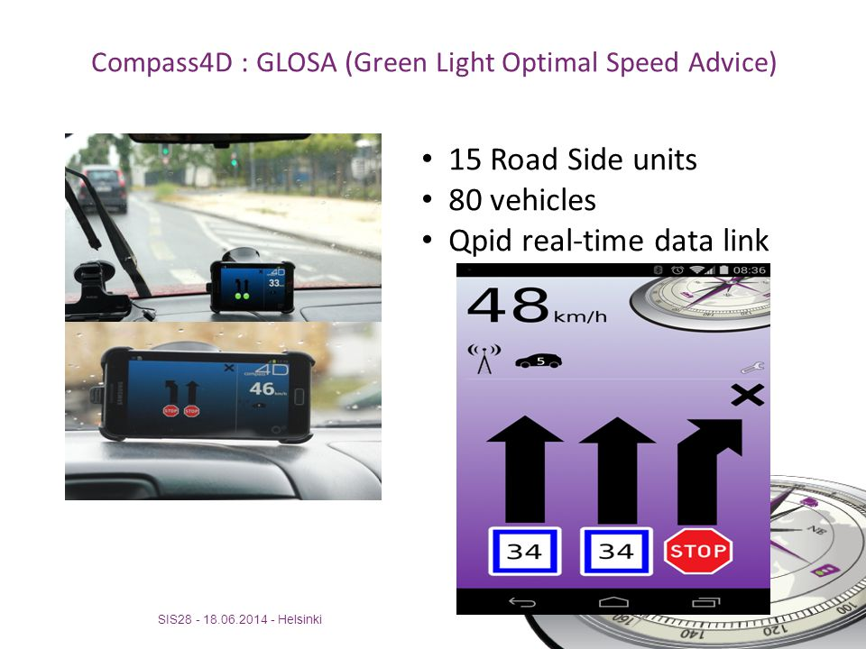 Compass4D : GLOSA (Green Light Optimal Speed Advice)
