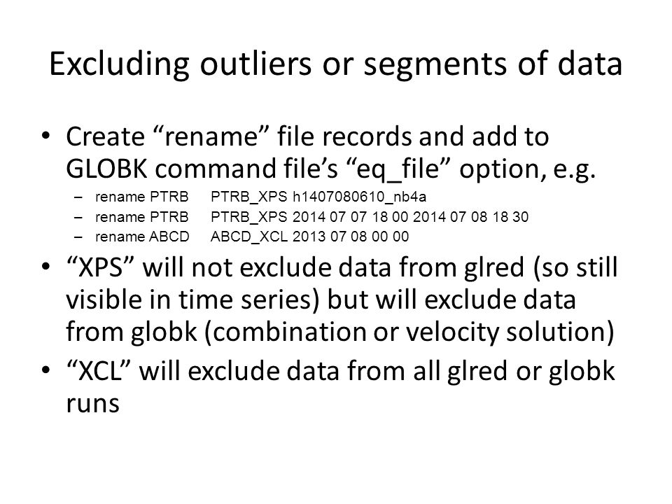 Excluding outliers or segments of data