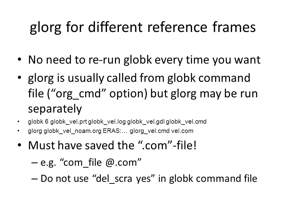 glorg for different reference frames