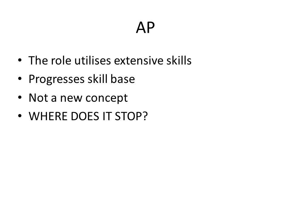 AP The role utilises extensive skills Progresses skill base