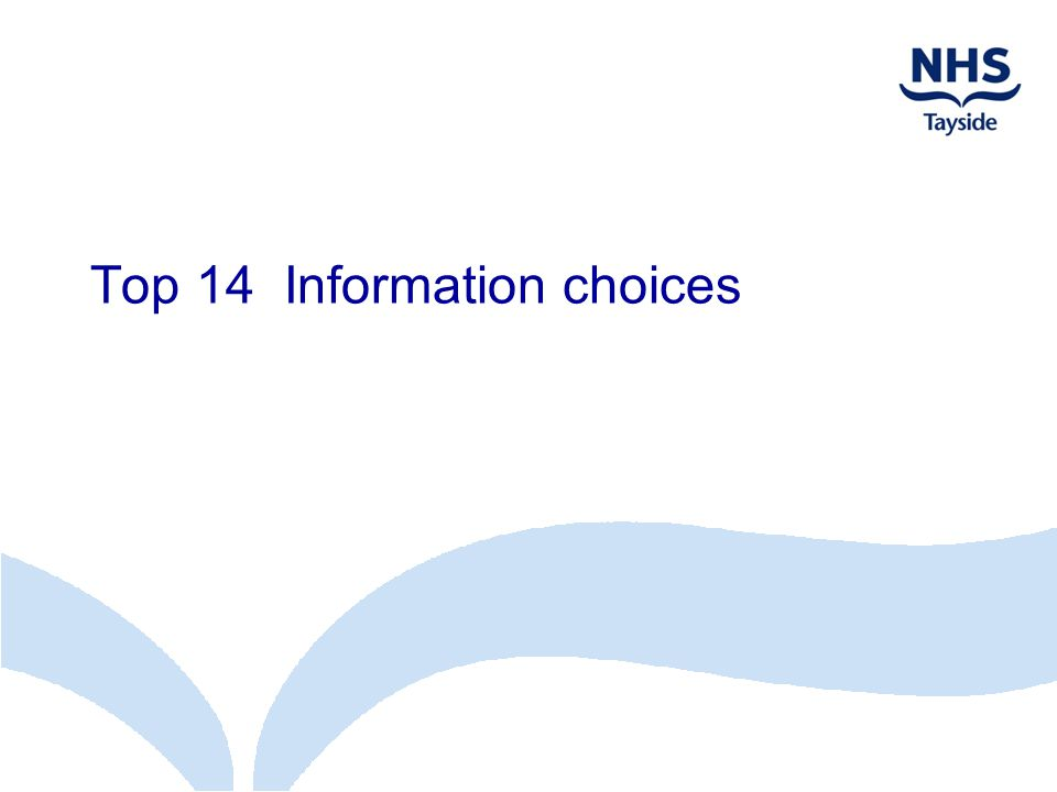 Top 14 Information choices