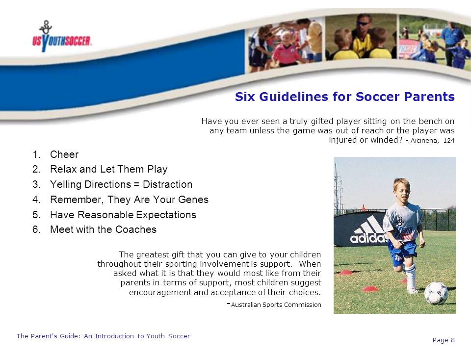 Six Guidelines for Soccer Parents