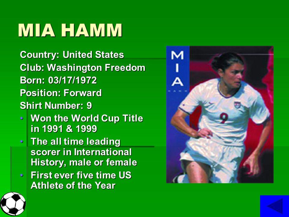 MIA HAMM Country: United States Club: Washington Freedom