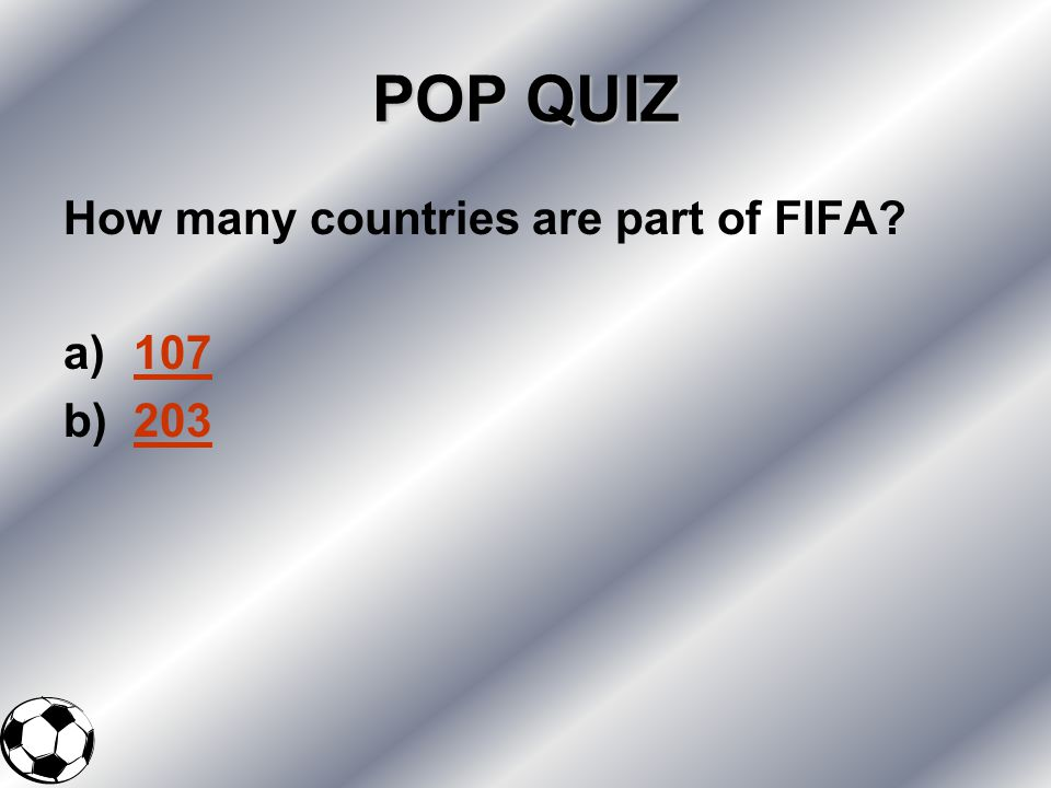 POP QUIZ How many countries are part of FIFA 107 203