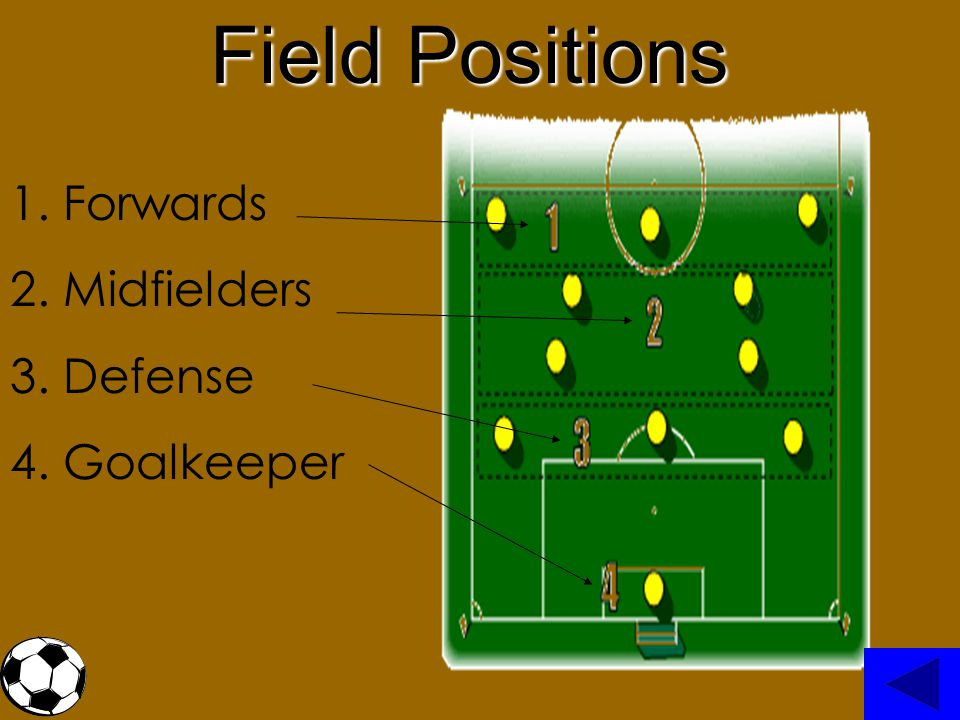 Field Positions Forwards Midfielders Defense Goalkeeper