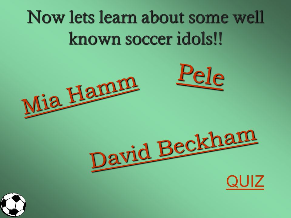 Now lets learn about some well known soccer idols!!