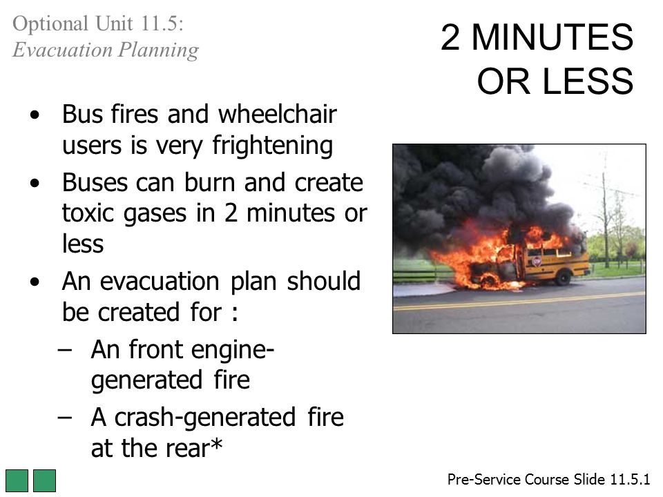 2 MINUTES OR LESS Bus fires and wheelchair users is very frightening