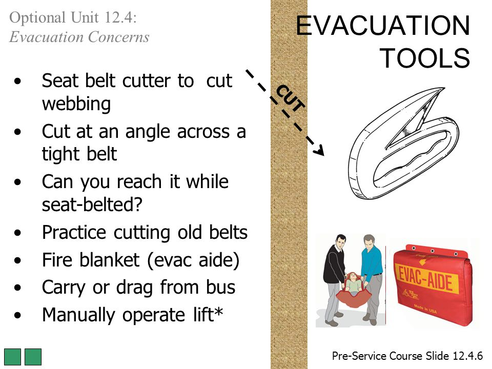 EVACUATION TOOLS Seat belt cutter to cut webbing