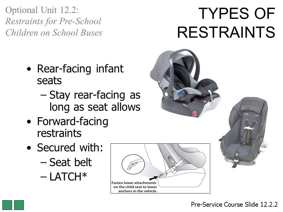 TYPES OF RESTRAINTS Rear-facing infant seats