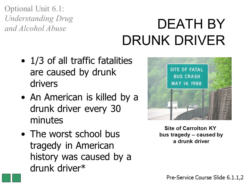 Optional Unit 6.1: Understanding Drug and Alcohol Abuse. DEATH BY DRUNK DRIVER. 1/3 of all traffic fatalities are caused by drunk drivers.