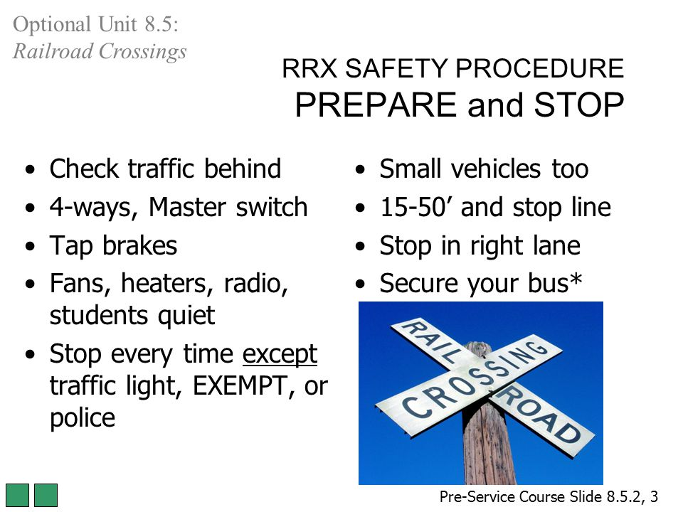 RRX SAFETY PROCEDURE PREPARE and STOP