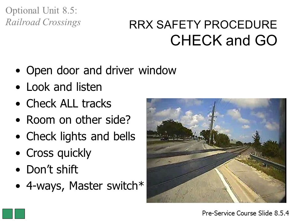 RRX SAFETY PROCEDURE CHECK and GO