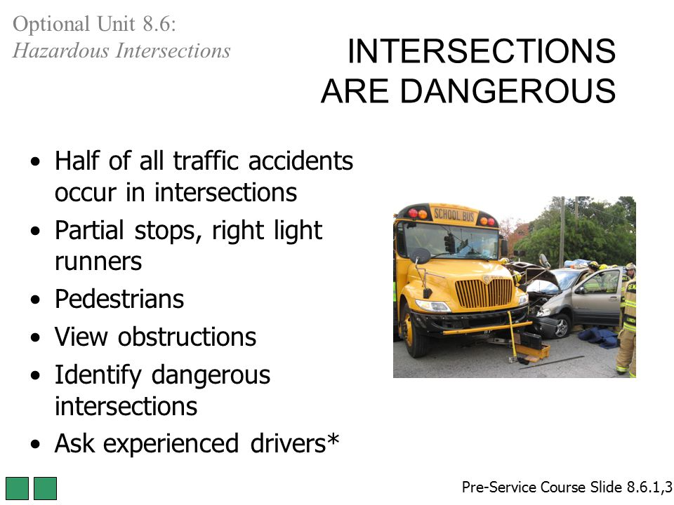 INTERSECTIONS ARE DANGEROUS