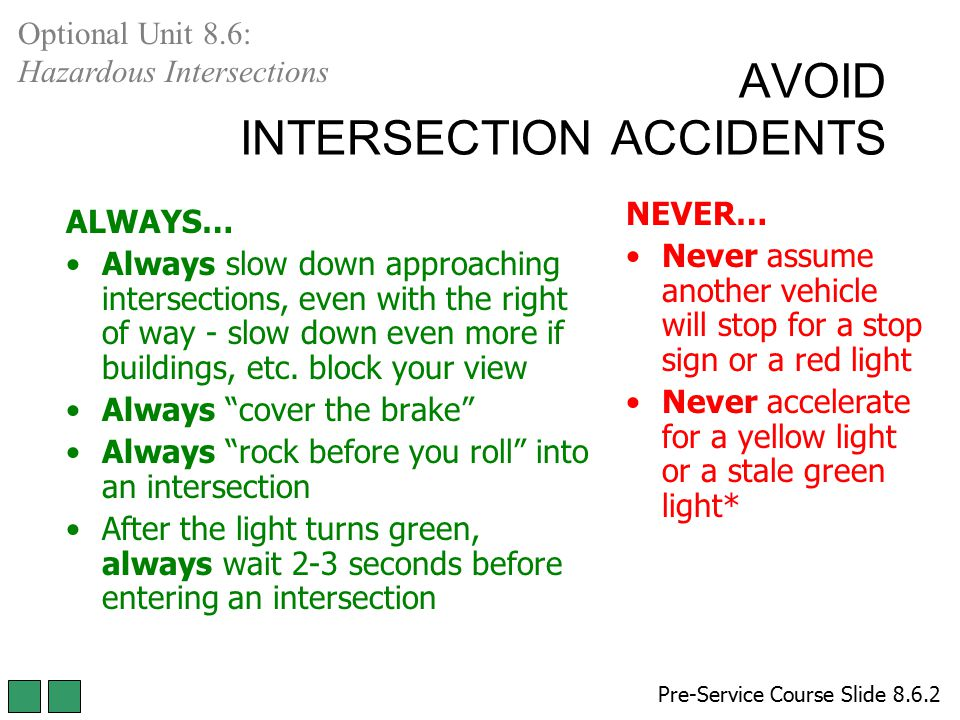AVOID INTERSECTION ACCIDENTS