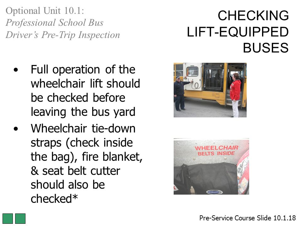 CHECKING LIFT-EQUIPPED BUSES