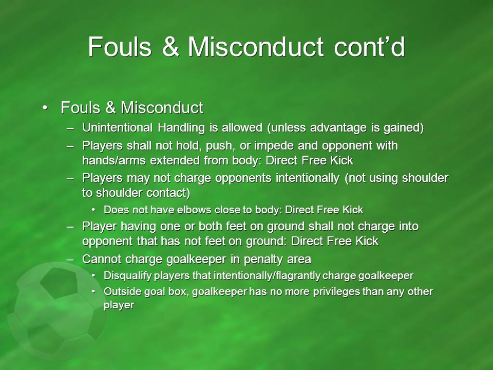 Fouls & Misconduct cont'd