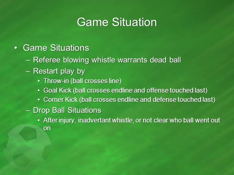 Game Situation Game Situations