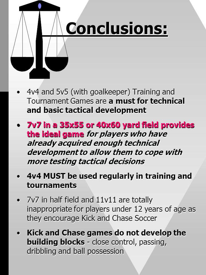 Conclusions: 4v4 and 5v5 (with goalkeeper) Training and Tournament Games are a must for technical and basic tactical development.