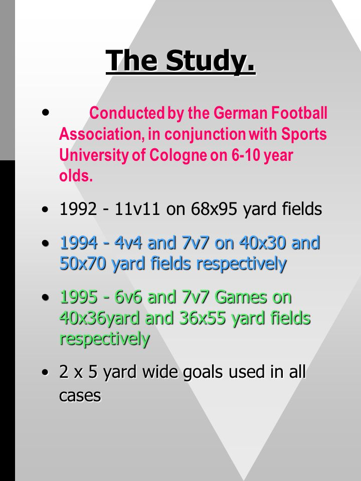 The Study. Conducted by the German Football Association, in conjunction with Sports University of Cologne on 6-10 year olds.